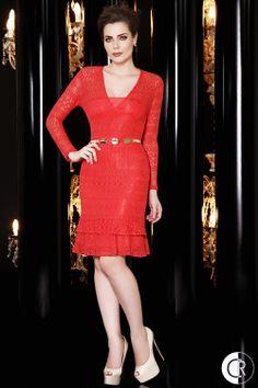 Vestido de renda vermelho Outono/Inverno 2014
