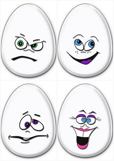 Alice Bartlett's media content and analytics Cartoon Eyes, Cartoon Drawings, Silly Faces, Funny Faces, Cartoon Faces Expressions, Bijoux Fil Aluminium, Egg Crafts, Egg Art, Rock Crafts