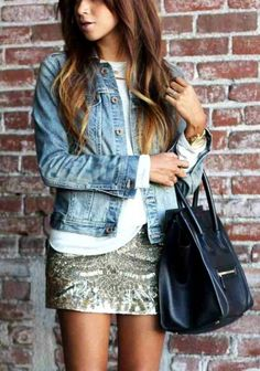 love glam skirt plus neutral top and celine bag!