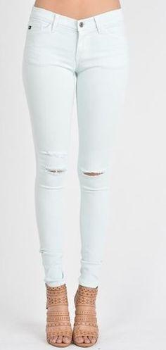 Joy White Distressed Straight Leg Pants