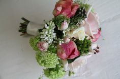 The Flower Magician: Nude & pale Pink Wedding Bouquet of Peonies, Roses & White Lilac