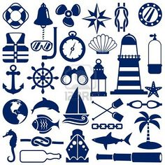 Illustration of nautical icons vector art, clipart and stock vectors. Nautical Design, Nautical Theme, Nautical Banner, Nautical Clipart, Stencils, Silhouette Projects, Silhouette Cameo, Vinyl Projects, Painted Rocks