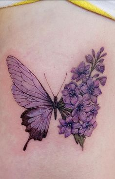 Future Tattoos, Love Tattoos, Beautiful Tattoos, Small Tattoos, Butterfly With Flowers Tattoo, Butterfly Tattoos For Women, Butterflies, Breast Cancer Tattoos, Birthday Tattoo