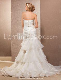 trompeta / sirena strapless asimétrico y de tren vestido de novia de organza corte