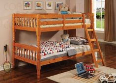 Coaster Corinth Twin over Twin Bunk Bed in Medium Pine Finish -- Click on the image for additional details. (This is an affiliate link)