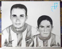 #AJ_ #Isco, hoy jugador del #RealMadrid, fue un niño enamorado del deporte. Aquí un #Retrato para su primer entrenador de fútbol en Arroyo de la Miel - Benalmádena, su ciudad natal, ambos con la camiseta del Málaga. (#Carboncillo sobre #lienzo 50x40 cm.) Desde #benalmadena, #malaga, @AmparoJurado85 #docente2.0 #aj_informa con mucho #arte #pintura #art #lovingart #loveart desde #estaes_espania #estaes_andalucia #estaes_malaga #lovingmalaga #lovebenalmadena #costadelsol #regalosnavideños