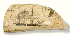 """Skinner's 3/4/17 lot  116 (view 1). Estimate: $100K - 150K. Realized: $110,700.   Description: Scrimshaw Whale's Tooth Showing the Frances of New Bedford, Frederick Myrick, Nantucket, c. 1828-29, one side carved with banner reading """"The Frances on the coast of Peru,"""" above the whaleship with crew hoisting the blanket piece aboard & 3 whaleboats at the bow, ..."""