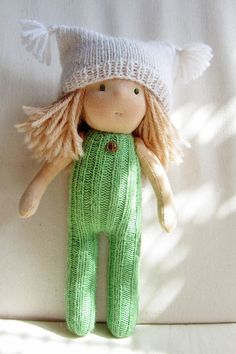 """Waldorf Knitted Doll 9"""" - Soft Doll - Hand Knitted Toy"""