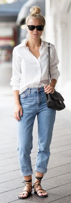 Mom's Sandals And Boyfriend Shirt Outfit Idea Love a white shirt and jeans