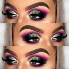 Eyeshadow Looks Forest green and purple bold eyeshadow look Forest green a Green Makeup, Pink Makeup, Colorful Makeup, Hair Makeup, Simple Makeup, Green Eyeshadow, Eyeshadow Looks, Eyeshadow Makeup, Eyeliner