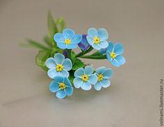 """""""Незабудки"""" брошь - незабудки,незабудка,брошь,брошь-цветок,цветы из полимерной глины"""