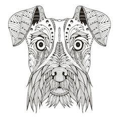 Schnauzer dog head zentangle stylized, vector, illustration, freehand pencil, hand drawn, pattern. Zen art. Ornate vector. Lace. Print for t-shirt. — Vector de stock