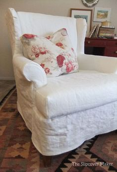Link to Paul Alan Carter u-tube videoclip. Heavy weight, washed linen slipcover with a comfy loose fit. Brazil Linen in color Off White from InstaLinen. Wingback Chair Slipcovers, Furniture Slipcovers, Upholstered Chairs, Chair Cushions, Traditional Sofa, Diy Chair, Sofa Covers, Furniture Makeover, Decoration