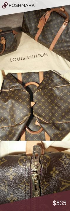 """""""AUTHENTIC"""" """"LOUIS VUITTON"""" MONOGRAM KEEPALL 50 I Bought this beautiful duffle LV.. last year...in excellent shape....i just never used it..stayed in Dust Bag since....its Brown & Tab monogram coated canvas with brass Hardware..Logo Luggage Tag at Handle..Tan Vachette Leather Trim..Dual rolled Top Handles..Brown Canvas..Two-Way Zipper.....code reads...MB-8904...this bag is really WORTH more than i am pricing...has, LOCK and KEY and DUSTBAG... (IMMACULATE) Smoke & Pet Free... FIRM $ Louis…"""