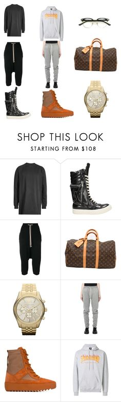 """wardrobe"" by mart-w ❤ liked on Polyvore featuring Rick Owens, Louis Vuitton, Michael Kors, Fear of God, adidas Originals, Thrasher, men's fashion and menswear"