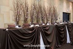 backdrop behind head table wedding | ... branches with lights behind head table. | Cute autumn wedding id