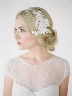 LEILA Birdcage Veil with Lace Combs, Lace Birdcage Veil