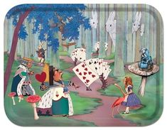 ALICE LOST IN THE WOODS ALICE IN WONDERLAND BIRCH WOOD TRAYS