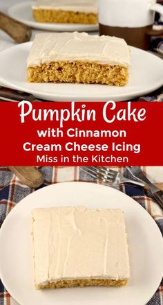 Easy Pumpkin Cake with cinnamon cream cheese icing is a super simple sheet cake made from scratch. Great for fall gatherings and holidays. Pumpkin Sheet Cake, Pumpkin Pie Bars, Pumpkin Cake Recipes, Pumpkin Spice Coffee, Pumpkin Dessert, Fall Desserts, Delicious Desserts, Dessert Recipes, Soften Cream Cheese