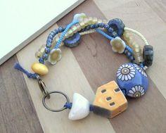 Orange house bracelet bird bracelet multistrand by ButtonedUpBeads, £34.00