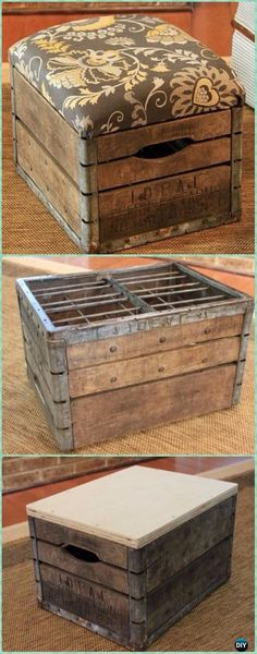 DIY Wood Crate Ottoman Instructions - DIY Wood Crate Furniture Ideas Projects