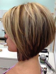 the dark edges with the highlighted blond show the lines and movement in this cut