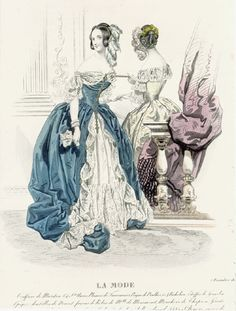 1840 fashion print, blue ball gown, would like to make this -La Mode