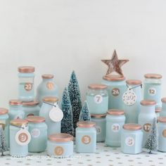 Upcycling advent calendar from empty glasses. Your individual advent calendar in your favorite color Advent Calenders, Diy Advent Calendar, Homemade Advent Calendars, Clay Christmas Decorations, Christmas Crafts, Winter Christmas, Christmas Time, Creative Crafts, Diy And Crafts