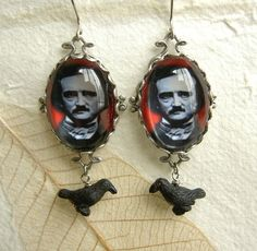 Edgar Allen Poe Earrings - Blood Red and Raven Black. I need these!