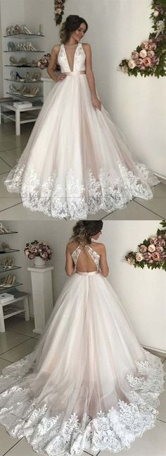 Deep V Neck Sleeveless Backless Wedding Dresses Lace Appliques Bridal Gown Backless Lace Wedding Dress, V Neck Wedding Dress, Luxury Wedding Dress, Classic Wedding Dress, Lace Dress, Dress Long, Gown Wedding, Western Wedding Dresses, Wedding Dresses Photos