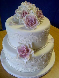Round Wedding Cakes - Chocolate cake with ganache undercoat White Fondant icing Round Wedding Cakes, Purple Wedding Cakes, Gold Wedding, Floral Wedding, Cupcakes, Cupcake Cakes, Cupcake Ideas, Tea Cakes, Edible Lace