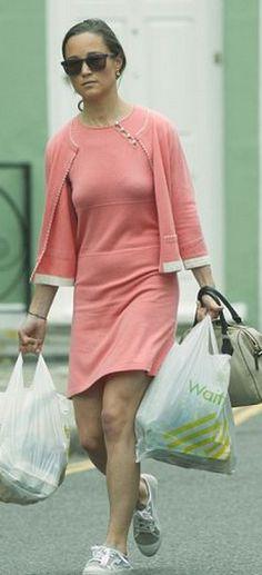 Pippa Middleton:  Sweater and dress – Cashmere By Tania  Purse – Milli Millu