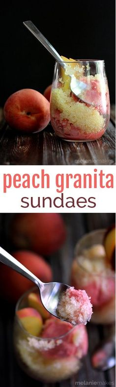 Water, sugar, peaches and Riesling wine take a spin in a blender before being poured into a pan and ushered to the freezer.  The final touch?  Serving this icy, peach goodness over a scoop of ice cream.  These Peach Granita Sundaes are the perfect end of Summer dessert.