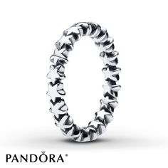 A row of stars forms this sterling silver ring from the PANDORA Holiday 2014 collection. Additional sizes may be available through special order at your nearest Jared location. Style # 190911- 54.