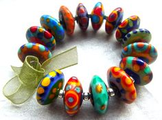 Happy Discs Handmade Lampwork Glass Beads 15 by AnnesGlassJewels