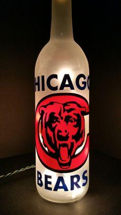 Novelty Bottle Light on Mercari Bottle Lights, Sports Gifts, Chicago Bears, Vodka Bottle, Decals, Birthdays, Weddings, Handmade Gifts, Christmas