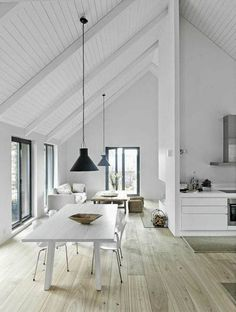 Pitched Roofing + Wooden Beams - The Design Chaser. home decor and interior decorating idea. Home Interior, Interior Architecture, Interior Modern, Modern Exterior, White House Interior, Natural Architecture, Door Design Interior, Minimalist Architecture, Interior Livingroom