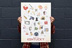 """We're releasing a limited run of our """"ABCs of Kentucky"""" print designed by illustrator Robert Bridges at 10 a. New Theme, Artwork Prints, Kentucky, Print Design, Heaven, Product Launch, Abcs, Bridges, Illustration"""