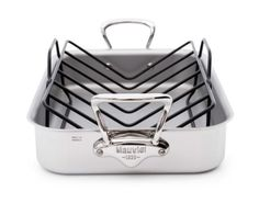 Mauviel M'Cook 5 Ply Stainless Steel 5217.15 15.7 by 11.8-Inch Rectangular Roasting Pan and Rack with Cast Stainless Steel Handles