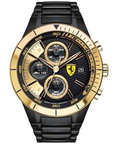 29c509b0c20 Scuderia Ferrari Men s Chronograph RedRev Evo Black Ion-Plated Stainless  Steel Bracelet Watch 46mm 0830303