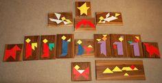 Kerst tangram: tafereel Kerstverhaal in 15 tangram-figuren.