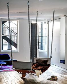hard to tell if this is an indoor hammock or an indoor swing. Thinking hammock, but not about to split hairs! Swing Indoor, Indoor Hammock, Hammocks, Hammock Bed, Hammock Ideas, Backyard Hammock, Interior Design, Design Interiors, Sweet Home
