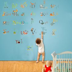 Nursery ABC Alphabet Wall Stickers Children Playroom Wall Decals   26 Alphabet  Sticker   Animal Alphabets A Z Stickers Kids Letters | Pinterest | Kids ... Part 86