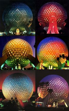 Spaceship Earth Lighting Schemes from Cranium Command at Epcot in Walt Disney World