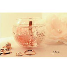 Flower glass candle (グラスキャンドル/シルバーデイジー/木芯/かすみ草/シルバー/可愛い/人気/プレゼント/ボタニカルキャンドル)