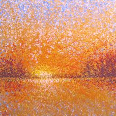 "SOLD Lake Effect - Breakthrough (small) 16""x16"" acrylic textures and glazes on cradled panel,.  Evocative of sunlight breaking through the horizon on the lake -- is it dawn or sunset? Only you will know. The yellow colors are really iridescent GOLD."