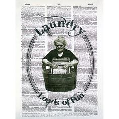 Loads of Fun Laundry Print on a Vintage by glasslionstudio on Etsy
