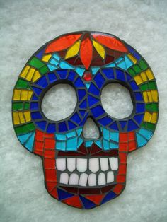 MOSAIC SUGAR SKULL - Ceramic and Stained Glass Wall Hanging. $50.00, via Etsy.