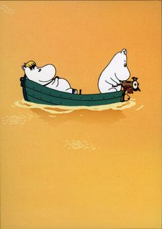 Moomins on the Riviera Couple in a Boat Greeting Card Moomin Cartoon, Les Moomins, Tove Jansson, Moomin Valley, Love Illustration, Land Art, Stop Motion, Anime, My Drawings