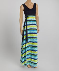 Navy & Blue Abstract Stripe Tie-Waist Maxi Dress by Modern Sensibilities